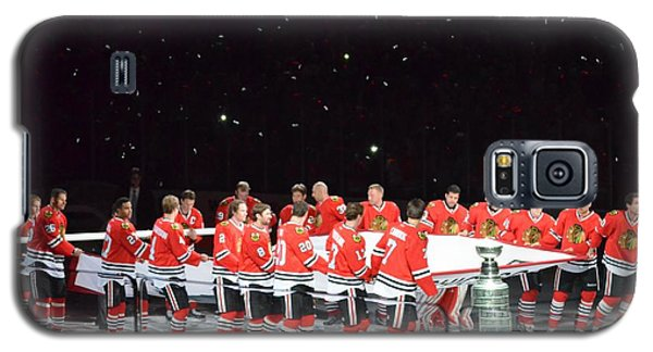 Galaxy S5 Case featuring the photograph Chicago Blackhawks And The Banner by Melissa Goodrich