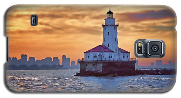 Galaxy S5 Case featuring the digital art Chicago Lighthouse Impression by John Hansen