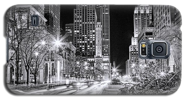 Chicago Michigan Avenue Light Streak Black And White Galaxy S5 Case