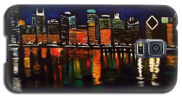Galaxy S5 Case featuring the painting Chicago Night Skyline by Brindha Naveen
