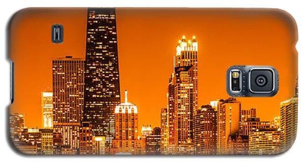 Hancock Building Galaxy S5 Case - Chicago Panorama Skyline At Night Orange Tone by Paul Velgos