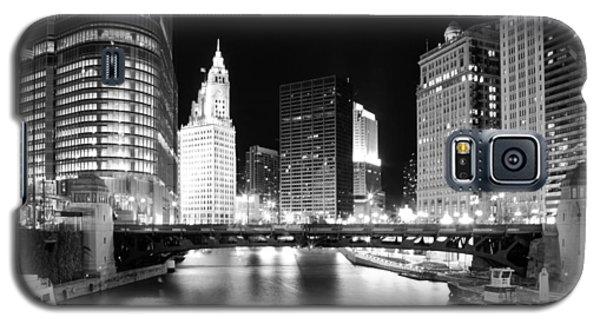 Chicago River Bridge Skyline Black White Galaxy S5 Case