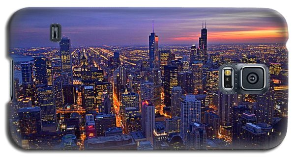 Galaxy S5 Case featuring the photograph Chicago Skyline At Dusk From John Hancock Signature Lounge by Jeff at JSJ Photography