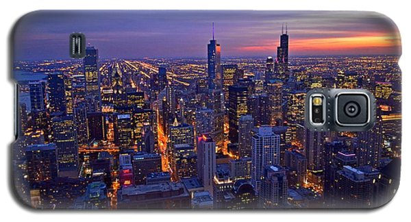 Chicago Skyline At Dusk From John Hancock Signature Lounge Galaxy S5 Case by Jeff at JSJ Photography