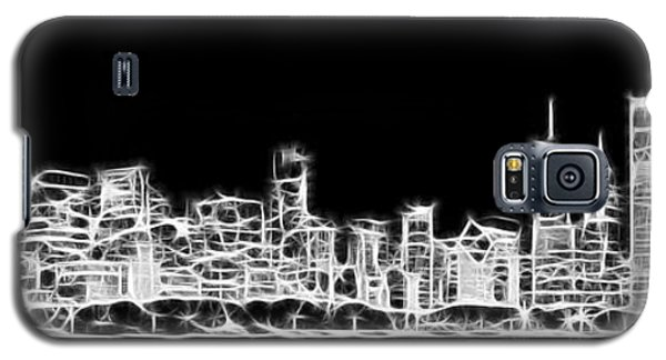 Chicago Skyline Fractal Black And White Galaxy S5 Case by Adam Romanowicz