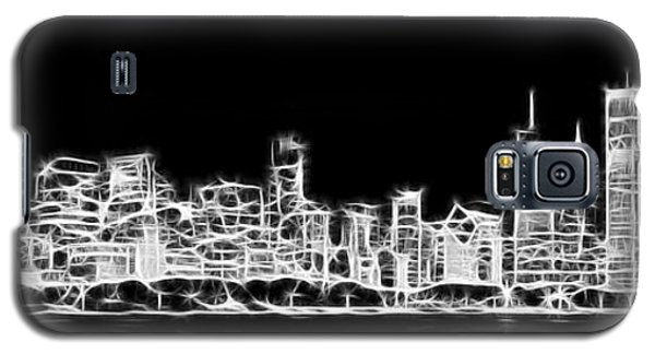 Chicago Skyline Fractal Black And White Galaxy S5 Case