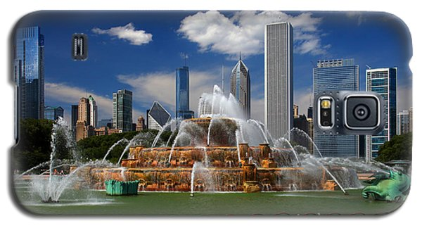 Chicago Skyline Grant Park Fountain Clouds Galaxy S5 Case