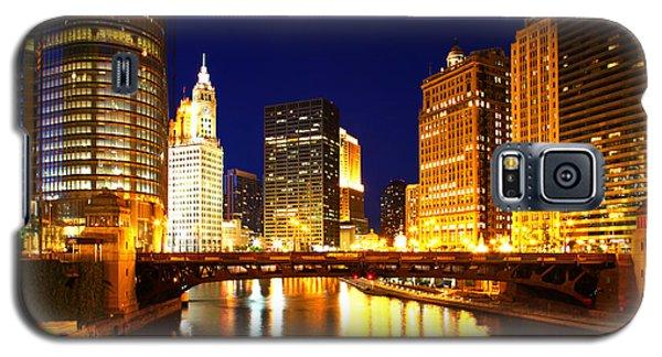 Chicago Skyline Night River Galaxy S5 Case