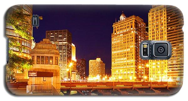 Chicago Skyline River Bridge Night Galaxy S5 Case