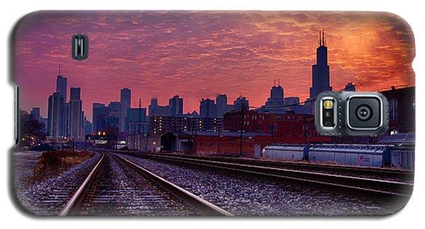Chicago Skyline Sunrise December 1 2013 02 Galaxy S5 Case by Michael  Bennett