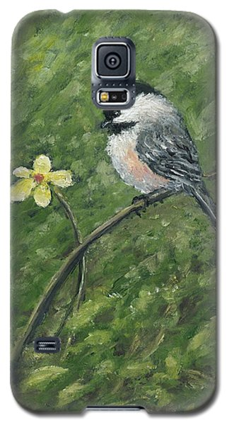 Chickadee And Yellow Flower Galaxy S5 Case
