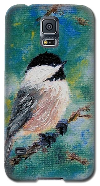 Chickadee Fine Art Card Brushstroke Enhanced Detail Print Galaxy S5 Case