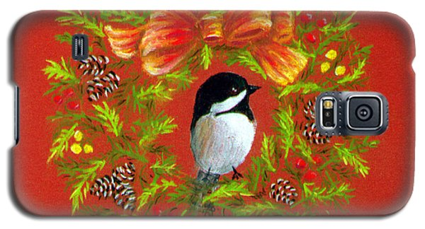 Galaxy S5 Case featuring the painting Chickadee Holiday Greeting Card by Judy Filarecki