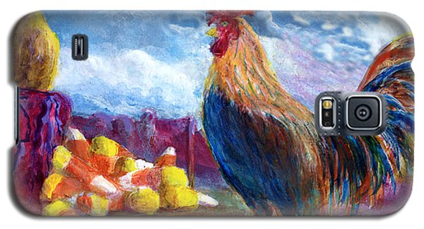 Galaxy S5 Case featuring the painting Chickens And Candy Corn by Lenora  De Lude