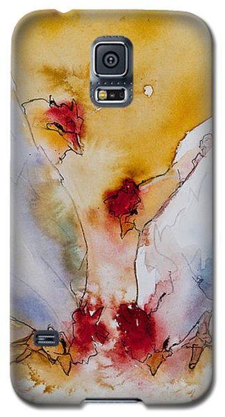 Galaxy S5 Case featuring the painting Chickens Feed by Jani Freimann