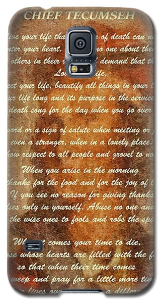 Chief Tecumseh Poem Galaxy S5 Case by Dan Sproul