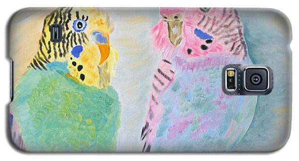 Galaxy S5 Case featuring the painting Childhood Parakeets by Meryl Goudey