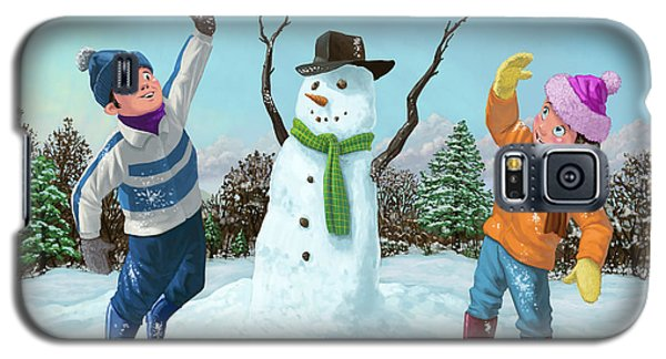 Children Playing In Snow Galaxy S5 Case