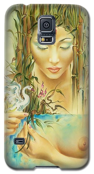 Galaxy S5 Case featuring the painting Chinese Fairytale by Anna Ewa Miarczynska