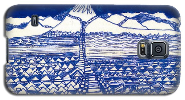 Galaxy S5 Case featuring the drawing Chinese Mountain by Don Koester
