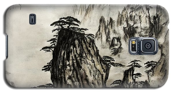 Galaxy S5 Case featuring the painting Chinese Mountains With Poem In Ink Brush Calligraphy Of Love Poem by Peter v Quenter