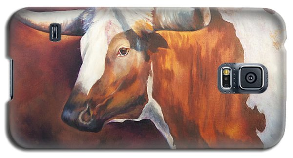 Galaxy S5 Case featuring the painting Chisholm Longhorn by Karen Kennedy Chatham