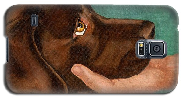 Chocolate Lab Head In Hand Galaxy S5 Case