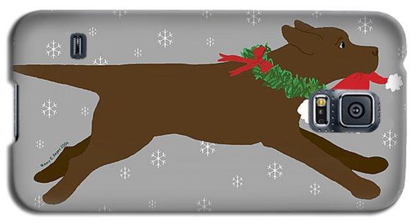 Chocolate Labrador Steals Santa's Hat Galaxy S5 Case