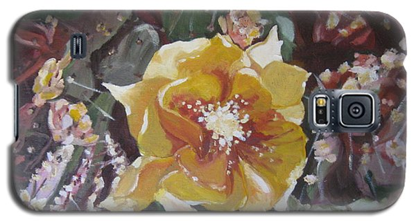 Galaxy S5 Case featuring the painting Cholla Flowers by Julie Todd-Cundiff