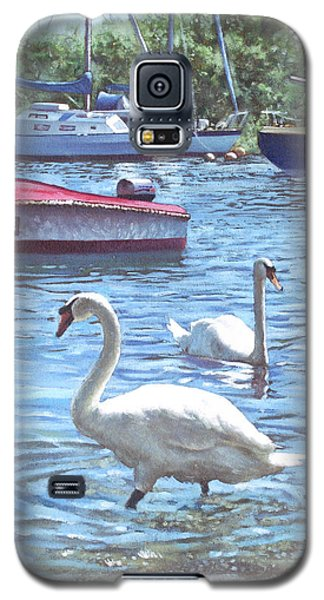 Christchurch Harbour Swans And Boats Galaxy S5 Case