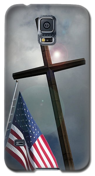 Christian Cross And Us Flag Galaxy S5 Case