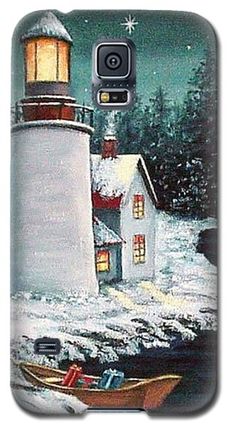 Galaxy S5 Case featuring the painting Christmas At The Light by Fran Brooks