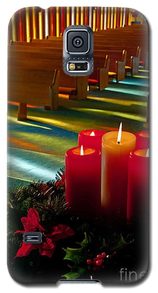 Galaxy S5 Case featuring the photograph Christmas Candles At Church Art Prints by Valerie Garner