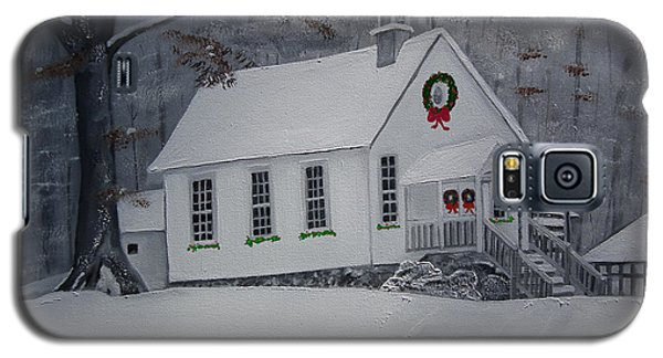 Galaxy S5 Case featuring the painting Christmas Card - Snow - Gates Chapel by Jan Dappen