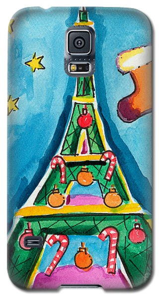 Christmas Eiffel Tower Painting Galaxy S5 Case