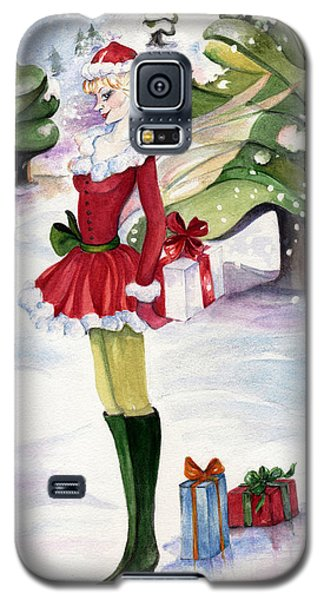 Galaxy S5 Case featuring the painting Christmas Fantasy  by Nadine Dennis