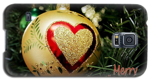 Christmas Gold Ball With Heart And Greeting Galaxy S5 Case