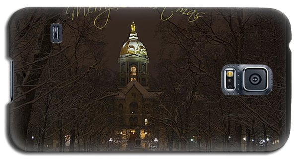 Christmas Greeting Card Notre Dame Golden Dome In Night Sky And Snow Galaxy S5 Case