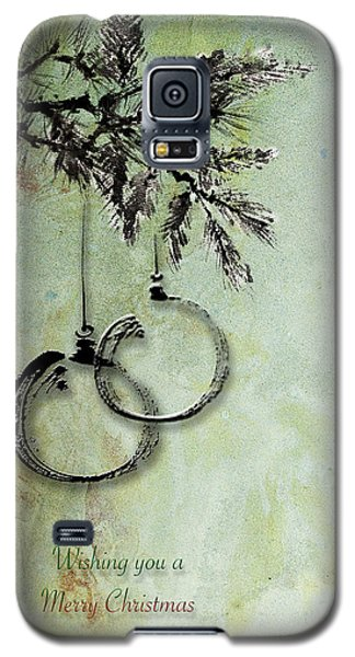 Galaxy S5 Case featuring the painting Christmas Greeting Card With Ink Brush Drawing by Peter v Quenter