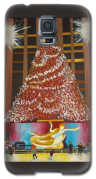 Galaxy S5 Case featuring the painting Christmas In The City by Donna Blossom
