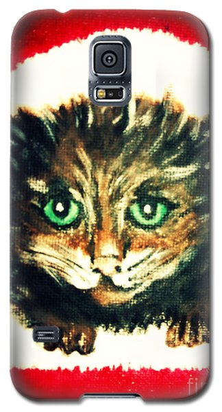Galaxy S5 Case featuring the painting Christmas Kitten  by Mindy Bench