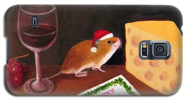 Galaxy S5 Case featuring the painting Christmas Mouse by Janet Greer Sammons