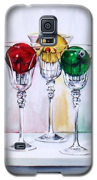 Christmas Ornaments In Wine Glasses Galaxy S5 Case