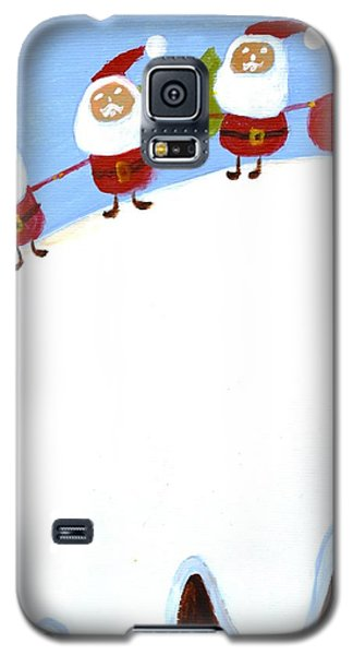 Galaxy S5 Case featuring the painting Christmas Pudding And Santas by Magdalena Frohnsdorff