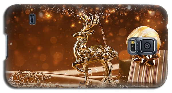 Christmas Reindeer In Gold Galaxy S5 Case