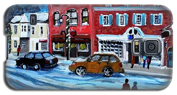 Galaxy S5 Case featuring the painting Christmas Shopping In Concord Center by Rita Brown