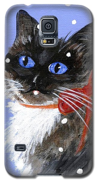 Galaxy S5 Case featuring the painting Christmas Siamese by Jamie Frier