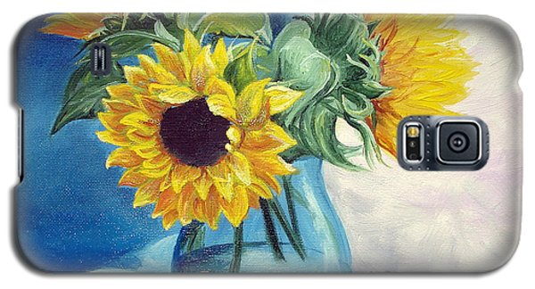 Galaxy S5 Case featuring the painting Chrysanthemums by Sorin Apostolescu