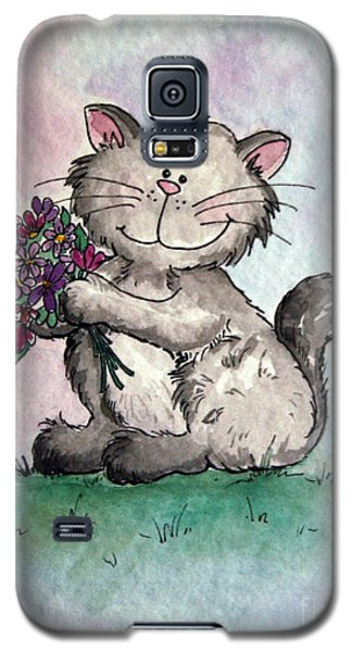 Chubby Kitty With Flowers Galaxy S5 Case