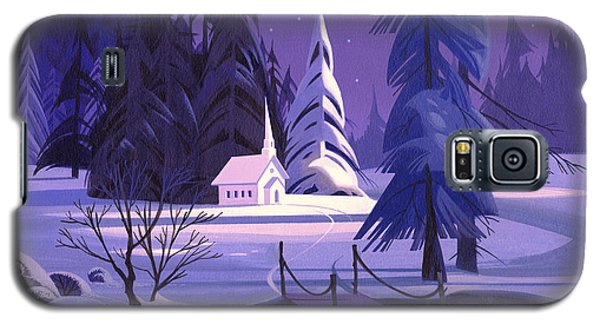 Galaxy S5 Case featuring the painting Church In Snow by Michael Humphries